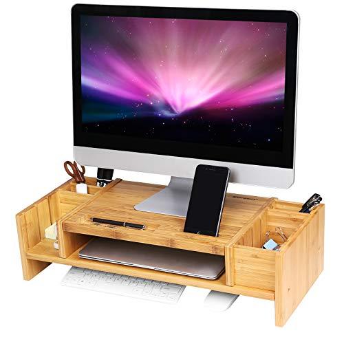 SONGMICS Monitorständer mit Stauraum, ergonomischer Bildschirmständer aus Bambus für Monitor oder Laptop LLD213