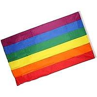 Bandera Dibujo Arco Iris Doble Líneas con Hebilla Cobre 90*150cm