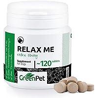 GreenPet Relax Me 120 Tabletten - EXTRA STARK - für Hunde - Bei Angst- und Stress Situationen - Zur Beruhigung und Entspannung - Eine Kombination aus Baldrian und Johanniskraut - Made in Germany