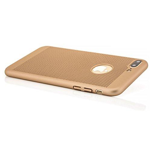 "zanasta Apple iPhone 8 Plus / 7 Plus (5,5"") Hülle + 3D Full Cover Panzerglas Ultra Slim Cover Schutzhülle Hard Case Handyhülle, Gold Gold"