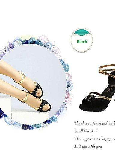 ShangYi Chaussures de danse(Noir / Bleu) -Non Personnalisables-Talon Bas-Satin / Cuir-Ventre / Ballet / Latine / Jazz / Baskets de Danse / Black