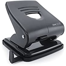 Rapesco 827 - Perforadora metálica, 2 agujeros, 30 hojas de capacidad, color negro
