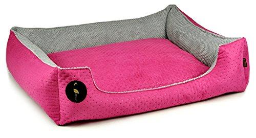 Lauren design cuccia cezar 50cm x 40cm rosa trapuntato/grigio | divano per cani | cani cuscino letto piazza per piccoli e grandi cani | cani cestino
