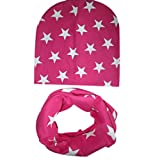 Ularma Baumwolle Sterne Mütze Schal Set für Baby Mädchen Junge Herbst Winter Warm (Hot Pink)