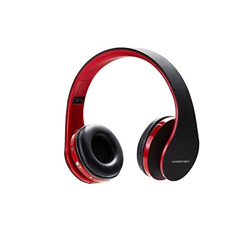 Drahtloser Stereokopfhörer, YOOHOG Bluetooth Kopfhörer mit Mikrofon für Kind-Erwachsener, leichter On-Ohrenkopfhörer, Kopfhörer für TF Karte FM Radio MP3 MP4 PC Tabletten Mobiles- justierbar (Rot)