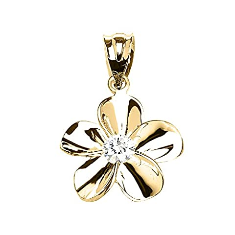 10 ct Yellow Gold Hawaiian Plumeria Cubic Zirconia Dainty Pendant Necklace (Comes With an 18