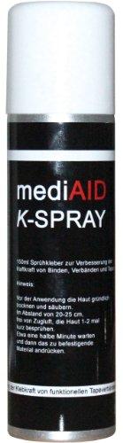 mediAID K-Spray Sprühkleber 150ml zur Verbesserung der Haftkraft von Binden, Verbänden, Tapes und Kinesiologie-Tape