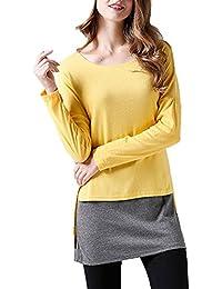 Mujer Talla Grande Camisa de Camisetas Cuello Redondo Camisetas de Manga Larga Top Colores Splicing Delgado