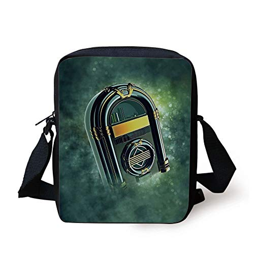 LULABE Jukebox,Abstract Grunge Antique Radio Music Box on Blurry Backdrop Print,Forest Green Yellow and White Print Kids Crossbody Messenger Bag Purse (Damen Box Tackle)