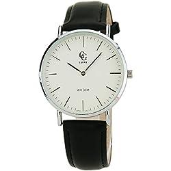 GG LUXE-Herren Armbanduhr-weiß - Quarz Japaner-Datum-Leder