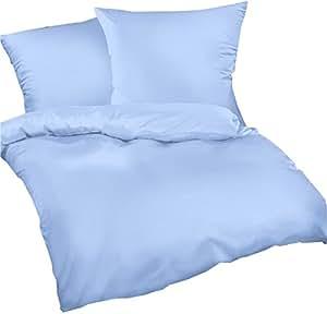 biber bettw sche set heaven 135x200 cm uni hell blau bettdecke und kopfkissen bezug aus. Black Bedroom Furniture Sets. Home Design Ideas