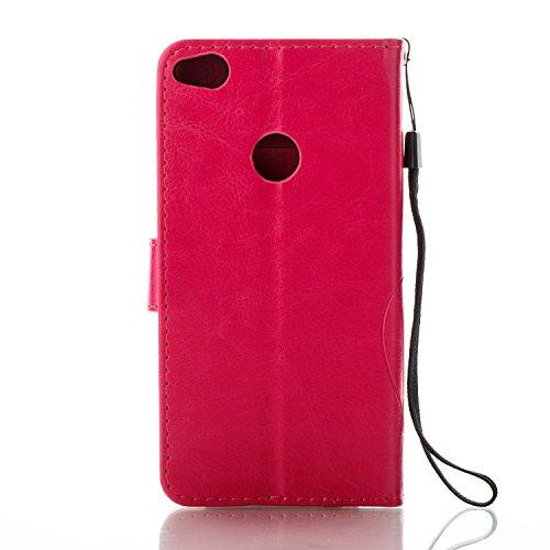 Huawei P8 Lite 2017 Portable Coque,Housse Etui en PU Cuir pour Huawei P8 Lite 2017,Ekakashop Retro Motif de Rose Papillon Bleu Marine Ultra Slim-fit Coque de Protection Folio Bookstyle Rabat Shell Cou Rose Rouge
