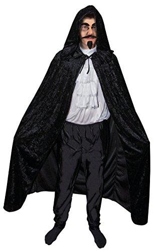 Unbekannt P 'tit Clown-16211-Cape Stoff Velours-Schwarz-1,40m + Kapuze-Einheitsgröße (Schwarzes Cape Kapuze)