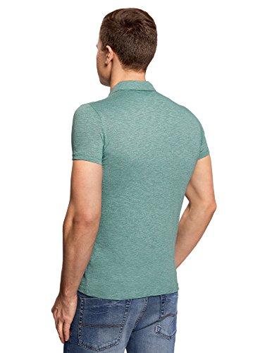 oodji Ultra Herren Poloshirt Basic in Melange-Optik Grün (6D00M)