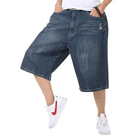 YeYan Hip-hop De Garçons Mens Étoile Baggy Skater Short Jeans Délavé Pantalon