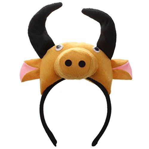 Ochse Kopfband - TOOGOO(R)3D Kuh Ochse Kopfband Tier Bauernhof Erwachsene Kinder Kostuem Maske Maskenball