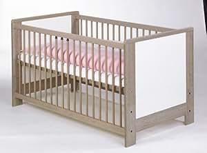 Geuther - Lit bébé évolutif Sinfonie blanc et gris 70x140 cm