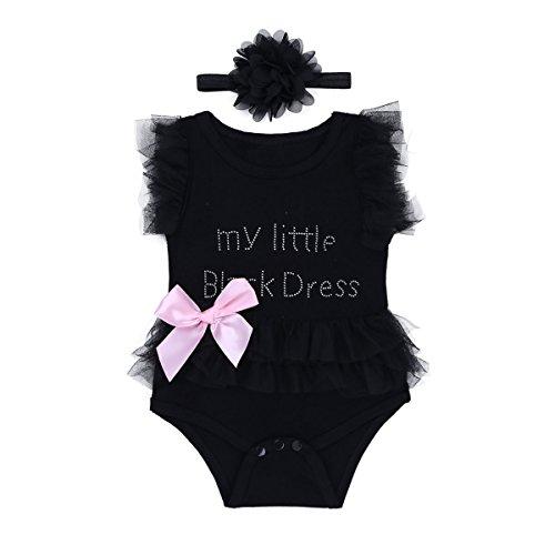 Baby Mädchen Strampler Einteiler Bodysuit+Haarband Sommer Outfits Babybekleidung Für 0-12 Monate Schwarz 50-56/0-3 Monate (Little Black Dress Kostüm)