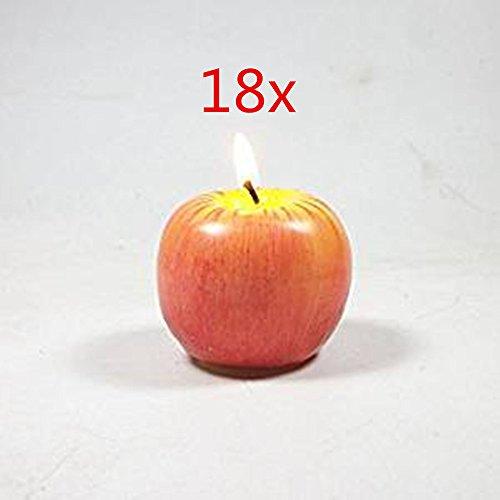 Adm-lc: emulational piccole candele a forma di mela rossa frutta, set di 18singolo pacchetto, decorazioni per feste e regali, regalo di natale.