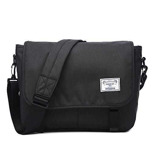 Neuleben Schultertasche Herren Damen Wasserabweisend Leicht Umhängetasche Messenger Bag passt 13,3'' Laptop für Schule Fahrrad Freizeit (Schwarz)