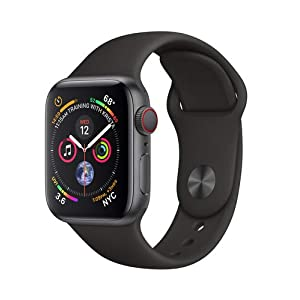 Apple Watch Series 4 (GPS + Cellular) con caja de 40 mm de aluminio en gris espacial y correa deportiva negra