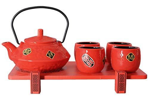 Asiatisches Teeservice 6-teilig rot mittelhoch. Teeset mit Kanne (inklusive Filtereinsatz), 4 Cups und Serviertablett.