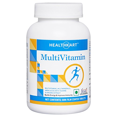 HealthKart multivitamin with Ginseng Extract, Unflavoured -60 Veg Capsules  available at amazon for Rs.249