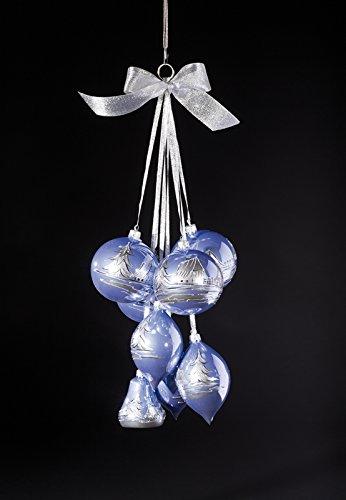 Glaskugelgehänge Lila Opal,8-teilig mit 4 Kugeln, 3 Oliven & 1 Glocke, Motiv silber, mundgeblasen und handdekoriert Kugel 10 cm, Olive 13 cm und Glocke 8 cm Gesamtlänge ca. 60 cm NEU Fensterbild Fensterdeko Türdeko