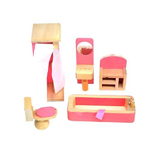 Lazzboy\'s Hölzernes Puppenhaus-Möbel-Set mit Zubehör für Puppenhaus( B)