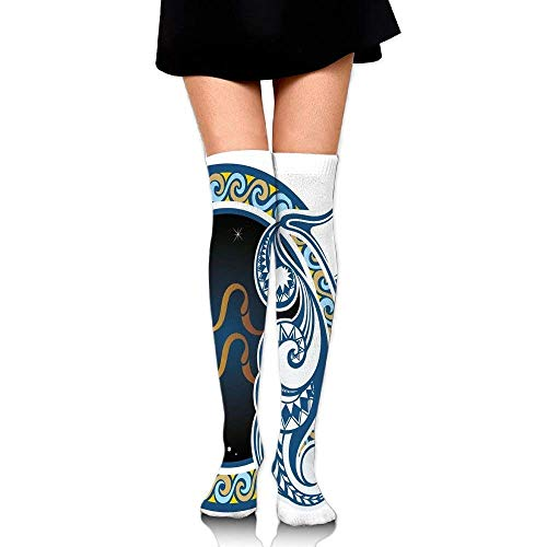OQUYCZ Women's Image of Aquarius Sign with Jug and Circular Globe World Form on Background Simplicity High Boot Socks