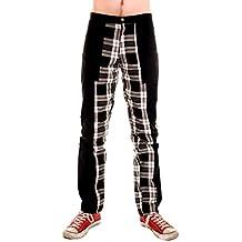 Diseño de tigre de Londres pantalones de pervertido blanco y negro interno de la pierna de cuadros escoceses