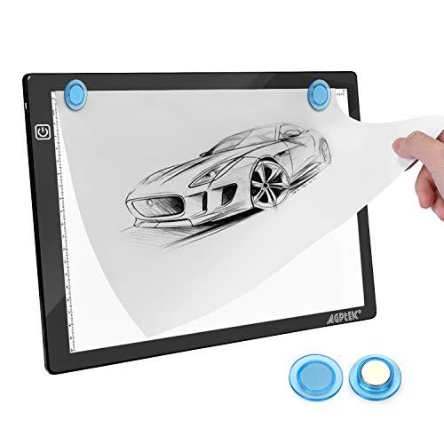 Magnetisches LED Zeichenpad A4 Größe Leuchttisch 35,7cm/14inch x 23,5cm/10,15inch Ultradünn nur 5mm, Stufenlose Helligkeitssteuerung mit Speicherfunktion, Tattoo-Pad für Zeichnen - MEHRWEG