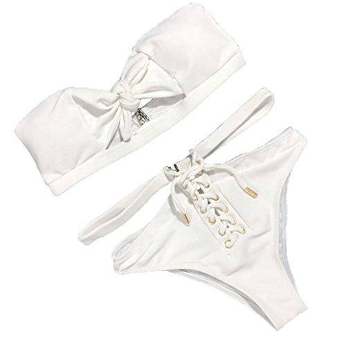 Hevoiok Damen Bademode Trägerlos Sexy Bow-Knot Bikini Set Push-up Badeanzug Padded Bikinis for Mädchen Frauen (Weiß, L)
