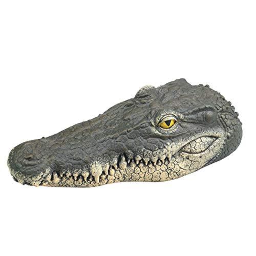 routinfly Wassersimulations-Krokodilkopf,Imitation Krokodilkopf Parodie Spielzeug Water Decoy Gartenteich Art Decor Badewannenspielzeug (Beige)
