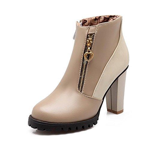 AllhqFashion Damen Niedrig-Spitze Reißverschluss Blend-Materialien Stiefel,Aprikosen Farbe,35
