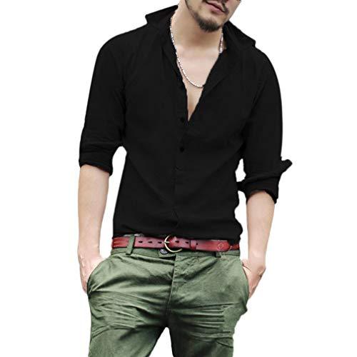 Paolian Chemise à Manches Longues en Coton et Lin Couleur Unie pour Homme, Chemise Homme Mode Automne et Hiver