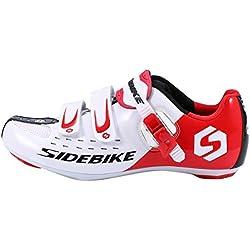 Selighting Zapatillas de Ciclismo Carretera Unisex Profesional con Plantilla Antideslizante Amortiguador para Bicicleta al Aire Libre (44, Rojo con blanco)