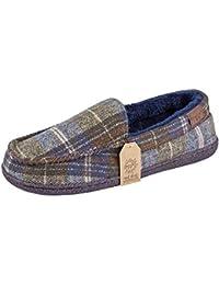 0ff597e6a038b Jo & Joe Mens Faux Suede Luxury Fleecy Lined Slip On Tweed Moccasin  Slippers Shoes Size