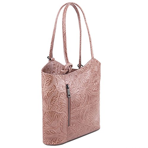 Tuscany Leather Patty Borsa donna convertibile a zaino in pelle stampa floreale - TL141676 (Rosso) Nude