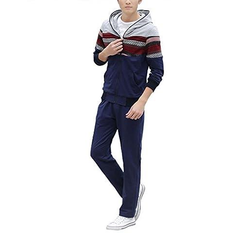 WALK-LEADER Mens Casual Long Sleeve Full-Zip Stylish Striped Hoodie + Pants Tracksuit Set D/B xs