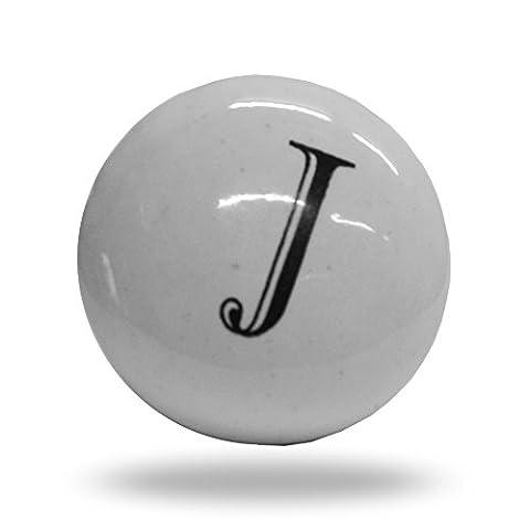 Porte de l'alphabet Lettre J d'armoire en céramique Bouton de tiroir et poignée