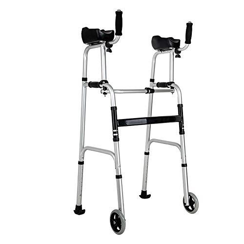 FFLSDR Vierbeinige Gehhilfen Mit Behinderung, Zusammenklappbare Gehhilfe Walker Armlehne Walker Mit Sitz Für Ältere Gehhilfen
