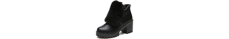 ZHZNVX HSXZ Zapatos de Mujer Moda Otoño Invierno PU Confort Botas Botas Chunky Talón Puntera Redonda for Casual... -