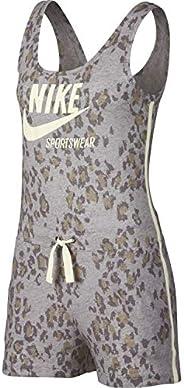 Nike Women's NSW Gym VNTG RMPR LEOPARD Jumpsuit, Green(Atmosphere Grey/Sail/Sail059), L