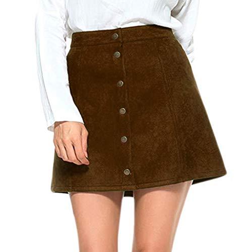 JiaMeng Damen Solide Vintage Suedette Button Hohe Taille -
