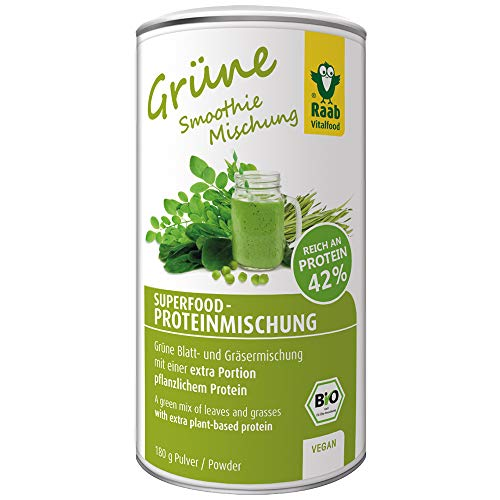 Raab Vitalfood Bio Superfood Protein-Mischung grün, 42 % Protein, Spinat, Weizengras, Gerstengras, Moringa, Erbsenprotein, vegan, glutenfrei, 180 g - Gerstengras Blatt