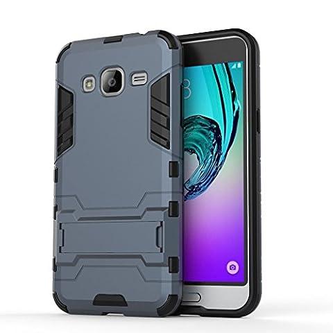 KaTelin Samsung Galaxy J3(2016) Case - 3 Couche Holster Combo Antichoc [Protection Goutte] Soutien Hard Cover Case pour Samsung Galaxy J3(2016) - Noir