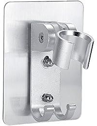 HITSAN INCORPORATION Wall Mounted Shower Head Bracket With 2 Hanger Hooks Holder Rotating Adjustable Shower Head...
