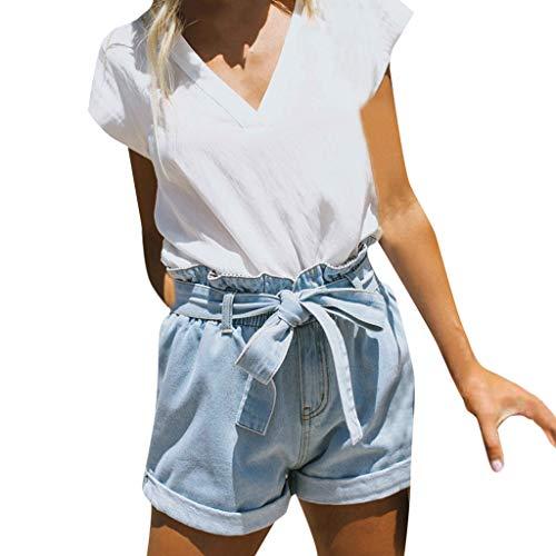 LInkay Damen Hose, Denim Paperbag Elastische Hohe Taille Yoga-Hose Sport Kurze Hose mit Gürtel Strumpfhose Mode 2019 (Blau, X-Large) -