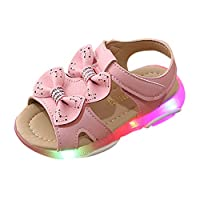 Yuan Children Baby Girls Bowknot Led Light Luminous Sport Sandals Light Up Shoes for Girls Sneaker Shoes Hot Pink